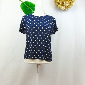Boden navy top with cream polka dots